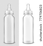 glass baby bottle for milk. | Shutterstock .eps vector #779706823