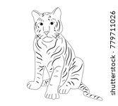sketch of a tiger sitting | Shutterstock .eps vector #779711026