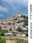 Small photo of Navelli (L'Aquila, Abruzzi, Italy), panoramic view of the historic town at summer