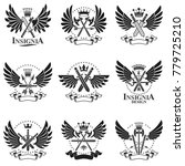 vintage weapon emblems set.... | Shutterstock .eps vector #779725210
