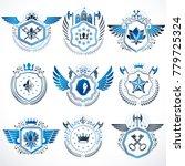 heraldic emblems with wings...   Shutterstock .eps vector #779725324