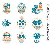 set of vector fitness workout... | Shutterstock .eps vector #779730040