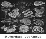 meat  fish  menu  steak  trout  ... | Shutterstock .eps vector #779738578