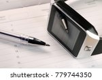 notepad  smart watch and pencil ... | Shutterstock . vector #779744350