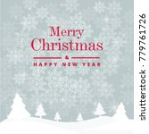 grey and red merry christmas... | Shutterstock .eps vector #779761726