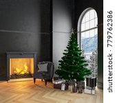 black christmas interior with... | Shutterstock . vector #779762386