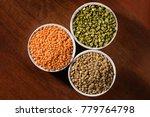 various types of lentils ... | Shutterstock . vector #779764798