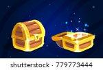 cartoon wooden  magic chest...