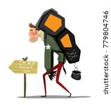 tired cartoon man with backpack ... | Shutterstock .eps vector #779804746