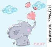 cute elephant love cartoon hand ... | Shutterstock .eps vector #779815294