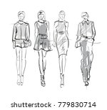 sketch. fashion girls on a... | Shutterstock .eps vector #779830714