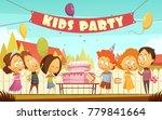 kids party cartoon background... | Shutterstock . vector #779841664
