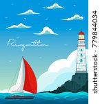 blue sea with yacht and... | Shutterstock .eps vector #779844034