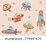 astronauts and aliens met in... | Shutterstock .eps vector #779847670