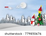 paper art and craft of merry... | Shutterstock .eps vector #779850676
