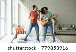 mixed race young funny girls...   Shutterstock . vector #779853916