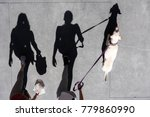 Stock photo couple walking on the street with the dog shot from above with long shadows 779860990