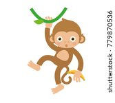monkey hanging and swinging... | Shutterstock .eps vector #779870536