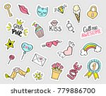 fashion girly stickers set.... | Shutterstock .eps vector #779886700