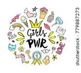 girls power lettering with... | Shutterstock .eps vector #779887273