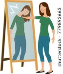 woman in front of a mirror... | Shutterstock .eps vector #779893663