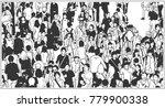 black and white illustration of ... | Shutterstock .eps vector #779900338