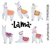 Stock vector vector set with cute lamas 779909038