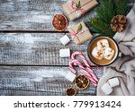 homemade hot chocolate or cocoa ... | Shutterstock . vector #779913424