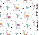 seamless pattern with lama ... | Shutterstock .eps vector #779917810