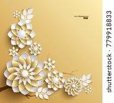3d branches of golden arabesque ... | Shutterstock .eps vector #779918833