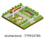 amusement park isometric... | Shutterstock . vector #779923780
