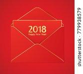 red envelope with golden... | Shutterstock .eps vector #779938579