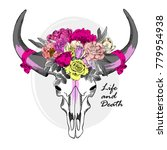 vector animal skull with wreath ... | Shutterstock .eps vector #779954938