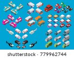 isometric set of cars  vans ... | Shutterstock .eps vector #779962744