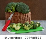 whole and sliced broccoli....   Shutterstock . vector #779985538