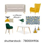 vector interior design mood... | Shutterstock .eps vector #780004906