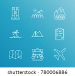 travel icon line set with... | Shutterstock . vector #780006886