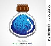 blue potion items pixel | Shutterstock .eps vector #780016606