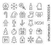 new year icons. christmas party ... | Shutterstock .eps vector #780032014