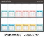 2018 calendar planner design. | Shutterstock .eps vector #780039754