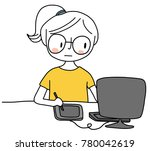 cute woman looking at monitor ... | Shutterstock .eps vector #780042619