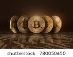 five real bitcoins coins on a... | Shutterstock . vector #780050650