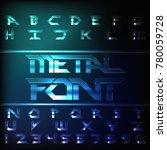 metal alphabet font. chrome... | Shutterstock .eps vector #780059728