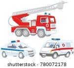 vector set of a fire truck  an... | Shutterstock .eps vector #780072178