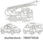 vector set of a fire truck  an... | Shutterstock .eps vector #780074026