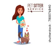 Stock vector cat pet sitter service vector professional pet sitter woman cat walking service isolated on 780076840