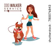 Stock vector dog walker vector walking with pets go for a walk flat cartoon illustration 780076843