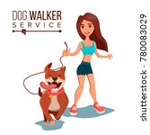 Stock photo dog walker walking with pets go for a walk flat cartoon illustration 780083029
