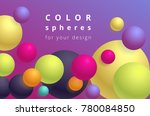 colored balls on a violet... | Shutterstock .eps vector #780084850