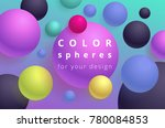 colored balls on a cyan... | Shutterstock .eps vector #780084853